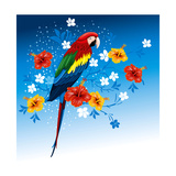 Bright Parrots Sitting On A Branch With Tropical Flowers Poster by  Pagina
