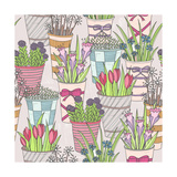 Cute Seamless Floral Pattern. Pattern With Flowers In Buckets Posters by cherry blossom girl