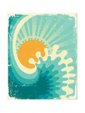 Wave In Ocean.Water Nature Background With Sun.Vintage Art by  GeraKTV