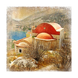 Small Greek Monastery -Artistic Retro Styled Picture Prints by  Maugli-l