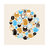 Coffee And Tea Icons Print by  venimo