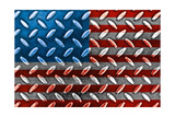 American Flag On A Diamond Metal Texture Prints by Frank L Jr