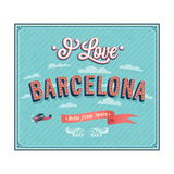 Vintage Greeting Card From Barcelona - Spain 高画質プリント :  MiloArt
