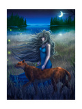 Woman And Cat Walking In The Moonlight - Digital Painting Posters by  anatomyofrockthe