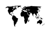 World Map - Black On White Art by  Jacques70