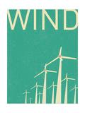 Retro Wind Turbines Illustration Plakaty autor norph