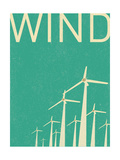 Retro Wind Turbines Illustration Prints by  norph