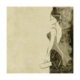 Art Autumn Background With Beautiful Young Woman In Party Black Dress With Clutch Bag In Sepia Prints by Irina QQQ