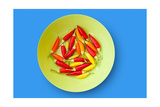 Colorful Chili Peppers Plate Isolated On Blue Background Poster by  holbox