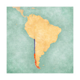 Map Of South America - Chile (Vintage Series) Art by  Tindo
