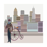 Retro New York Illustration - Vintage Bird On A Bike Posters by  run4it