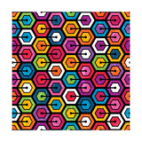 Colorful Geometric Pattern With Hexagons Posters by  evdakovka