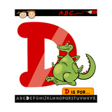 Letter D With Dragon Cartoon Illustration Art by Igor Zakowski