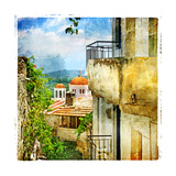 Greek Streets And Monasteries-Artwork In Painting Style Poster by  Maugli-l