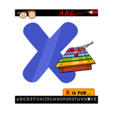 Letter X With Xylophone Cartoon Illustration Poster by Igor Zakowski