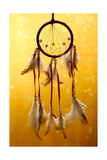 Beautiful Dream Catcher On Yellow Background With Lights Prints by  Yastremska