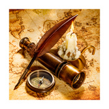 Vintage Compass, Quill Pen, Spyglass Lie On An Old Ancient Map With A Lit Candle Print by Andrey Armyagov