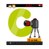 Letter C With Camera Cartoon Illustration Prints by Igor Zakowski