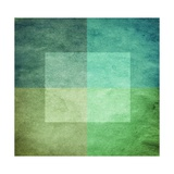 Grungy Watercolor-Like Graphic Abstract Background. Green Premium Giclee Print by  landio