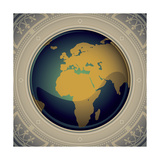 Vintage World Map Designed Banner Premium Giclee Print by  Rashomon