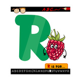 Letter R With Raspberry Cartoon Illustration Posters by Igor Zakowski