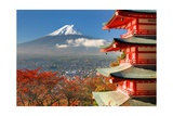 Mt. Fuji Viewed From Behind Chureito Pagoda Posters by  SeanPavonePhoto