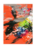 Red Abstract Painting With Expressive Brush Strokes Prints by  run4it