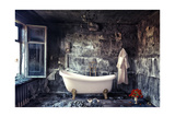Vintage Bathtub in Grunge Interior Poster by  viczast
