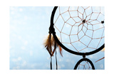 Beautiful Dream Catcher On Blue Background With Lights Posters by  Yastremska