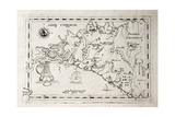 Old Map Of Capuchins Province Of Palermo, Sicily. The Map May Be Dated To The 17Th C Prints by  marzolino