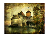 Mysterious Castle On The Lake - Artwork In Painting Style Kunst af  Maugli-l