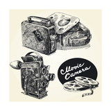 Vintage Movie Cameras-Original Hand Drawn Collection Print by  canicula
