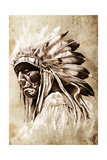 Sketch Of Tattoo Art, Indian Head, Chief, Vintage Style Prints by  outsiderzone