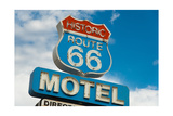 Historic Route 66 Motel Sign In California Prints by  flippo