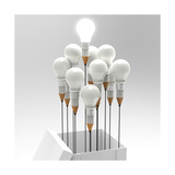 Drawing Idea Pencil And Light Bulb Concept Outside The Box As Creative Lámina por  everythingpossible