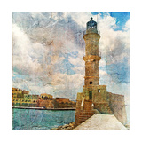 Light House With Yacht- Artistic Painting Style Picture Prints by  Maugli-l