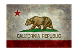 California State Flag With Distressed Treatment Kunstdrucke von Bruce stanfield