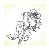Silhouette Of The Black Rose On A White Background Posters by  incomible