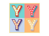 Simple And Clear Flat Lamp Alphabet - Letter Y Print by  dgbomb