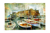 Artistic Picture In Painting Style - Boats In Naples Port In Front Of Castle Uovo Prints by  Maugli-l