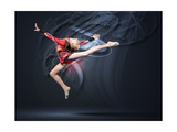 Young Cute Woman In Gymnast Suit Show Athletic Skill On Black Background Kunstdrucke von Sergey Nivens