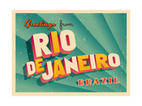 Vintage Touristic Greeting Card - Rio De Janeiro, Brazil Prints by Real Callahan