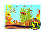 Postage Stamp With The Underwater World Prints by  GUARDING-OWO