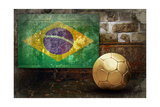 Grunge Flag Of Brasil On The Wall And Ball Print by  yuran-78