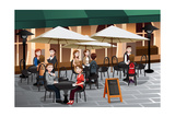 People Enjoying Coffee Outside Of A Cafe Print by Artisticco LLC