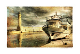 Light House In Rethimno Harbor - Artwork In Retro Style Prints by  Maugli-l