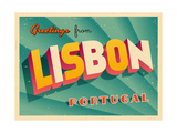 Vintage Touristic Greeting Card - Lisbon, Portugal Art by Real Callahan