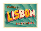 Vintage Touristic Greeting Card - Lisbon, Portugal Art by Real Callahan