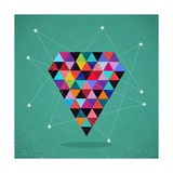 Retro Hipsters Trendy Triangle Diamond Illustration Posters by  cienpies