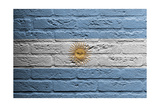 Brick Wall With A Painting Of A Flag, Argentina Print by Micha Klootwijk